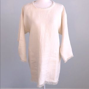 Isabel Marant Off White Linen Tissue Fringe Dress
